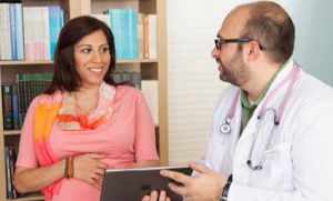 health provider with patient